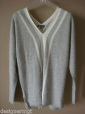NWT $345 VINCE HSW Grey/White Double V neck 100% Cashmere Sweater Size L