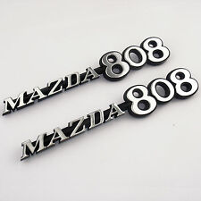 MAZDA 808 metal badges x2 chrome, New for Rotary Rotor 12A 13B RX3 RX-3 Savanna