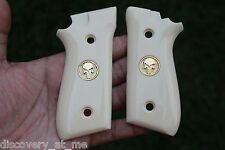 TAURUS PT 92 GRIPS, PT- 99 100 101 IMITATION IVORY Gold Color Punisher Skull