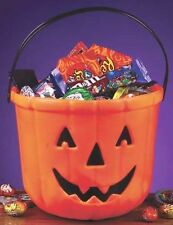 Pumpkin Trick or Treat Plastic Bucket Halloween Decor Prop Candy Bowl NEW