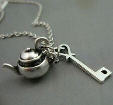 Alice in Wonderland Antique Silver Plated Teapot Heart key Necklace Kitsch
