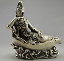 Collectible Decorate Tibet Silver Carved Kwan-yin Boat Sea Statue NR