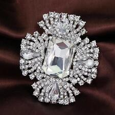Silver White Wedding Crystal Rhinestone Broach Brooch Pin Bouquet Bridal