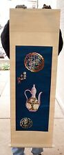 Antique Chinese Scroll - Embroidered Silk on Paper - Teapot & Character Motif