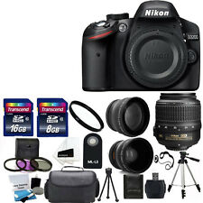 Nikon D3200 Digital SLR Camera +3 Lens 18-55 VR + 24GB SD & More Top Value Kit
