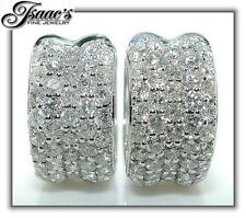 1.25 Ct HUGGIES Five Row Round Diamond Earrings 14KW