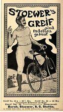 B. Stoewer A.G. Stettin STOEWER`S GREIF DAMENRAD  Historische Reklame 1899