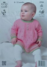 KNITTING PATTERN Baby Long Sleeve Round Neck Dress (Angel Top) DK or 4ply 3986