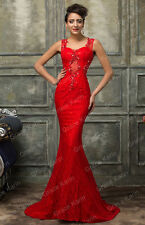 Red LACE Wedding Long Mermaid Elegant Dresses Formal Evening Gown Pageant Prom