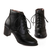 Womens Lady Lace Up Fashion Block Heels British Ankle boots Brogue shoes Plus SZ