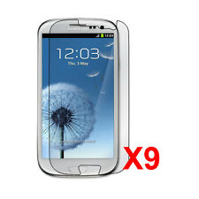 9pcs Crystal Clear Screen Protector Shield for the Samsung Galaxy S3 III i9300