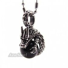 "Men's Dragon Black Onyx Ball Stainless Steel Pendant with 21"" Chain Necklace"