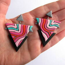 Geometric Modern Triangle Statement Contemporary Bold Pink Grey Big Earrings