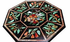 """24"""" Black Marble Coffee Table Top Mosaic Bird Marquetry Inlay Patio Decor H1602"""