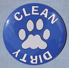 Blue Paw Print CLEAN DIRTY Dishwasher Magnet  - 3""