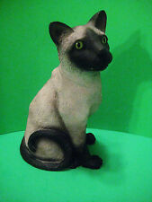 """Seal Point Siamese Green Eyed Sitting Cat Heavy Statue Figurine Hand Painted 9"""""""