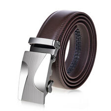 Vbiger Men's Genuine Leather Belt Automatic Buckle Waist strap Waistband Brown