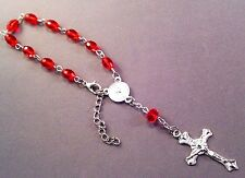 Christian Pocket Rosary RED Bead Fatima Medal Center Silver Crucifix Accent GIFT