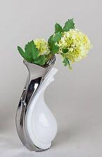 Moderne Deko Vase Blumenvase aus Keramik weiss/silber Höhe 23 cm