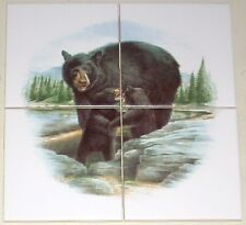 "Black Bear with Cubs Ceramic Tile Mural 4 pc of 4.25"" Kiln Fired"