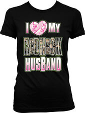 I Love My Redneck Husband Pink Camo Heart - Country Juniors T-shirt