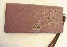 NWT Coach 53759 Slim Wallet in Colorblock Leather Eggplant Multi Silver