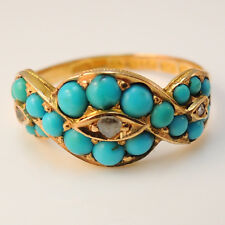 Beautiful vintage 15ct gold turquoise and diamond ring