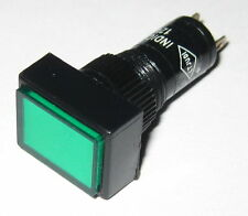 Panel Mount Rectangular LED Indicator - Green - Plastic Case - 3 to 12 V DC