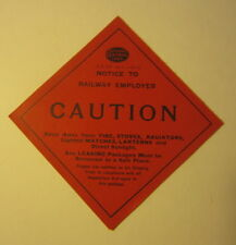 Old 1915 NEW YORK CENTRAL RAILROAD - CAUTION - Train Package LABEL / Sticker