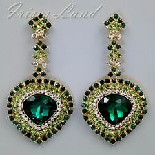 18K Gold Plated GP Green Crystal Rhinestone Chandelier Drop Dangle Earrings 9322