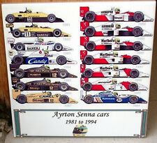 Ayrton Senna All the cars he drove from 1981 to 1994~TRIBUTE CERAMIC TILE