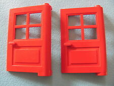 LEGO 3861 (x2) @@ Door 1 x 4 x 5 4 Panes @@ RED  374 1966 6364 6383 6494 10014