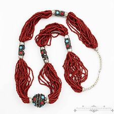 Antique Vintage Deco Sterling Silver Yemen Coral Seed Bead Strand Necklace
