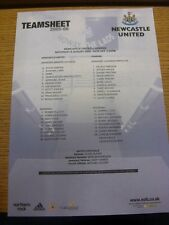 06/08/2005 Colour Teamsheet: Newcastle United v Yeading [Friendly] (folded). Con
