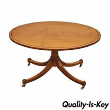 Vintage Duncan Phyfe Baker Furniture Oval Maple Accent Coffee Table Brass Caster
