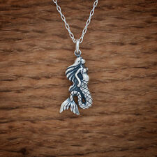 Handcast 925 Sterling Silver Mermaid Pendant FREE Cable Link Chain