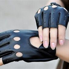 Damen PU Leder Autofahrer Handschuhe Weich Motorrad Vintage Schwarz