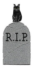 "Tombstone - Black Cat - Halloween - Embroidered Iron On Applique Patch 3 7/8""H"