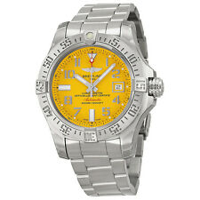 Breitling Avenger II Seawolf Yellow Dial Stainless Steel Mens Watch