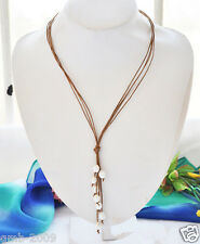 """Genuine Brown Leather 9-10mm White Freshwater Pearl Necklace 21"""" Long"""