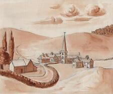 Naïf village paysage antique aquarelle l e moodie c1930