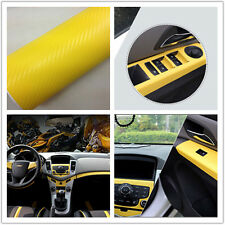 Yellow Carbon Fiber Vinyl Wrap Sticker Auto Interior Accessorie Console Dashboar