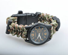 CAMO Bracelet Watch With Survival Compass Flint Whistle Handmade Paracord 550