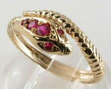 DELIGHTFUL 9K GOLD  VICTORIAN INS INDIAN RUBY COILED SNAKE RING FREE RESIZE
