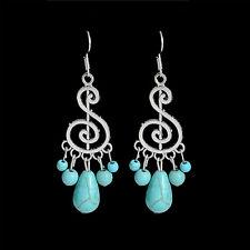 Costume Jewelry Ethnic Tibetan Silver Turquoise Bohemian Hollow Dangle Earrings