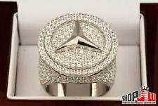 Mens 14k White Gold Finish Simulated Diamond .925 Silver Benz Benzo Ring Hip Hop