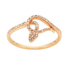14K ROSE GOLD PAVE DIAMOND SNAKE COCKTAIL FASHION WRAP RING