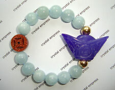 Feng Shui - Purple Jade Ingot & I-Ching Coin with 12mm Aquamarine
