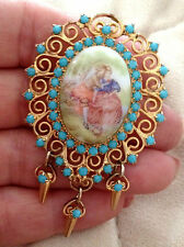 60s JULIANA DELIZZA & ELSTER Romantic LIMOGES SCENE Transfer Pin Faux Turquoise