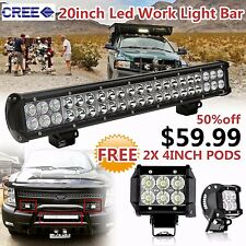 20inch CREE LED Work Light Bar + 2X 4inch Pods Lighting Offroad Trailer 4WD Jeep